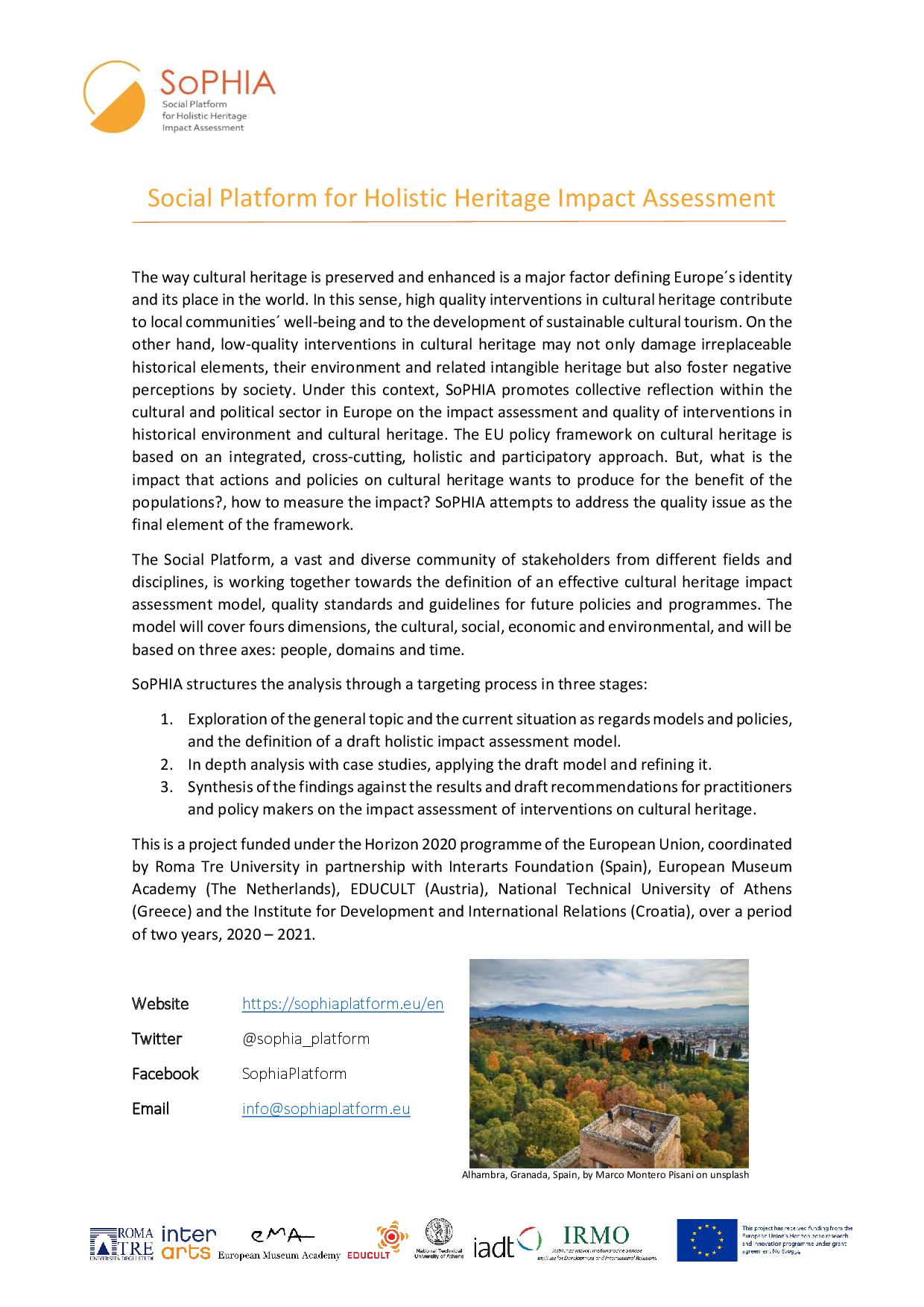 SoPHIA - Social Platform for Holistic Impact Heritage Assessment