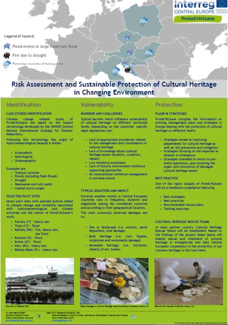 ProteCHt2save – Risk assessment and sustainable protection of Cultural Heritage in changing environment